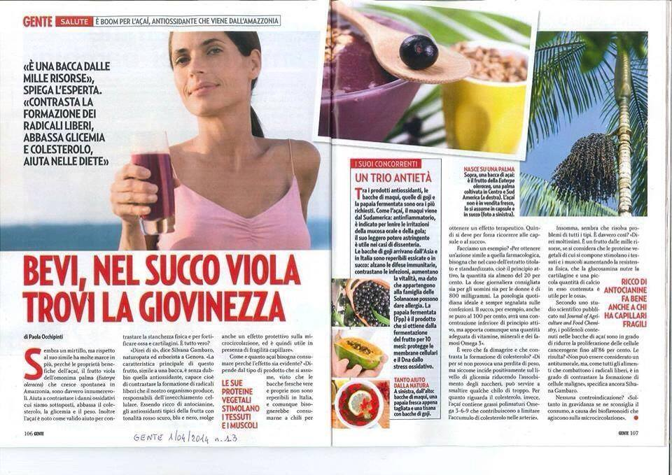 Bacche di Acai giovinezza fa bene alla pelle anti gaing MonaVie Italia