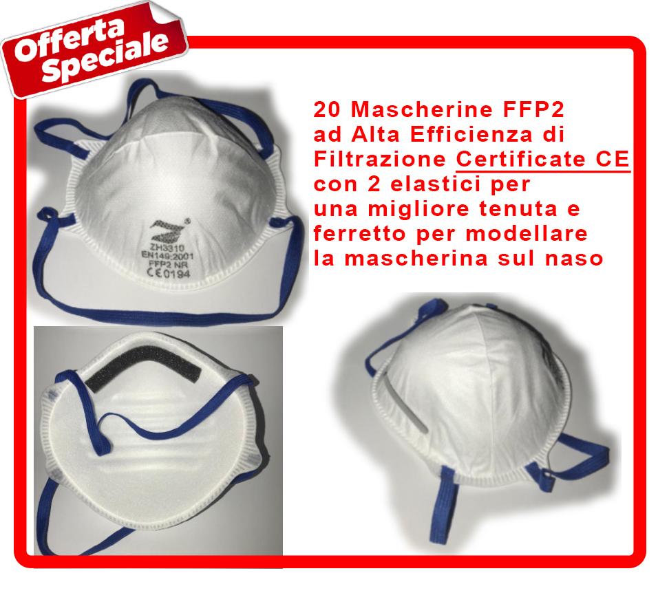 Mascherine FFP2 certificate CE con elastici e ferretto per modellare la mascherina sul naso